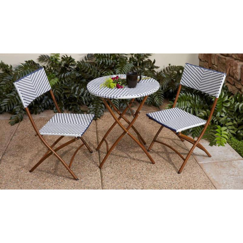 folding bistro set table chairs brown wicker
