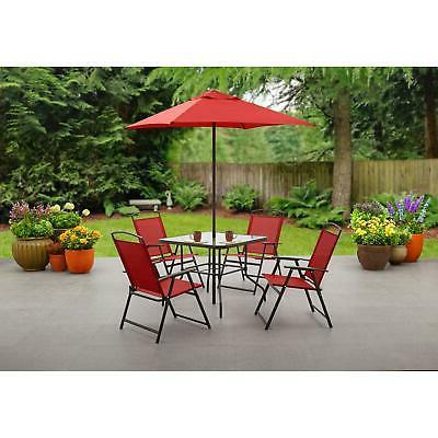 folding red dining porch set