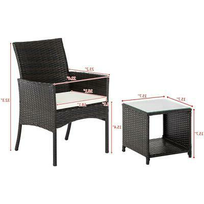 Gardeon Bistro Dining Chairs Setting 3 Piece Wicker