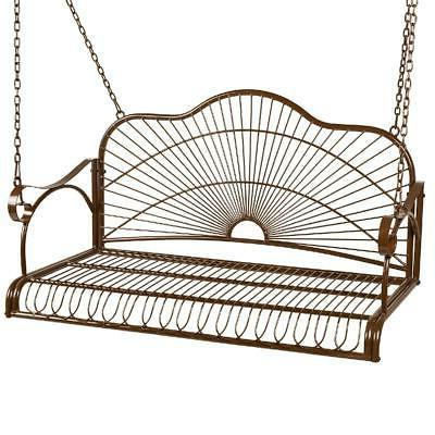 hanging outdoor swing bench iron patio furniture