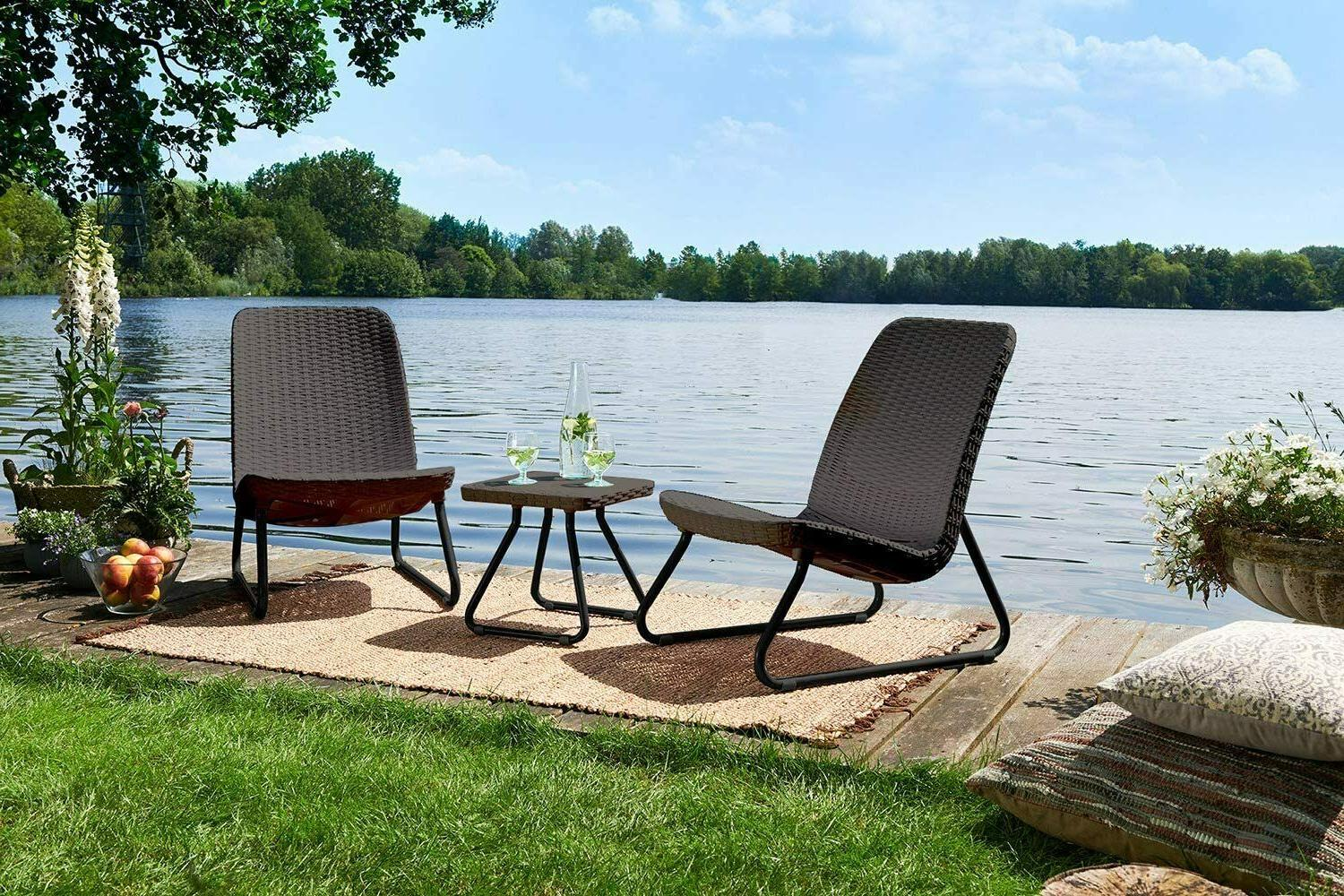Outdoor Patio Furniture Table Chair 3 Piece Set All Weather
