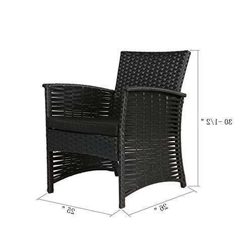 Baner Piece Outdoor Furniture Patio Wicker Rattan Garden Set, Full, Black