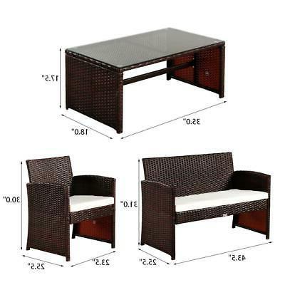 4PCS Set Rattan Garden Wicker Chair
