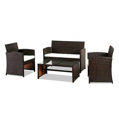 4PCS Patio Outdoor Set Rattan Seating Wicker Cushion