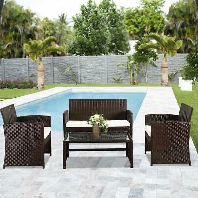 4pcs patio outdoor furniture set rattan garden