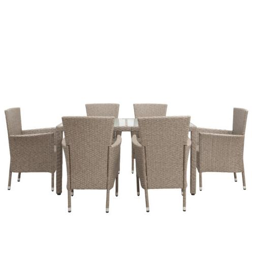 Outdoor Dining Set Patio Dinning Table Beige-Brown