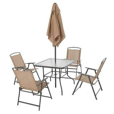 Outdoor Furniture with 4 Chairs Tan