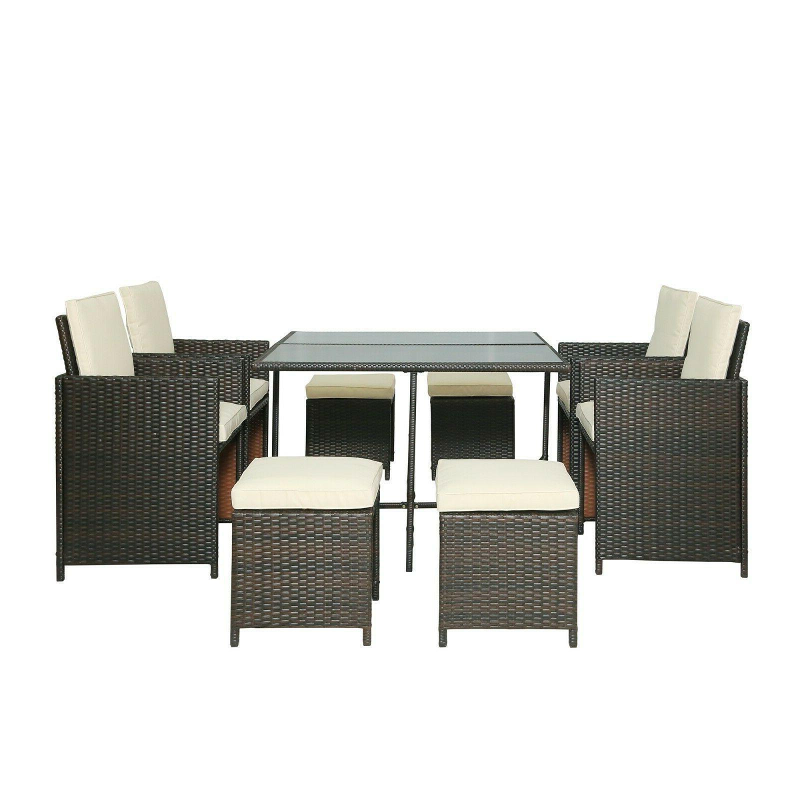 outdoor dining table set rattan patio garden
