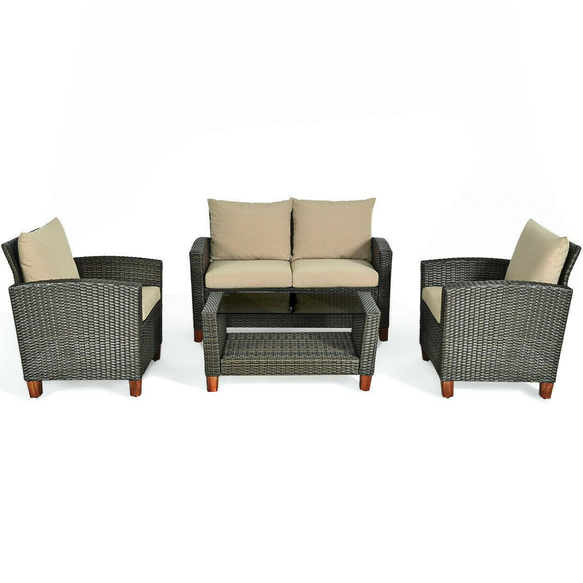 Outdoor Furniture Set 4-PCS Patio Rattan Wicker Table Cushio