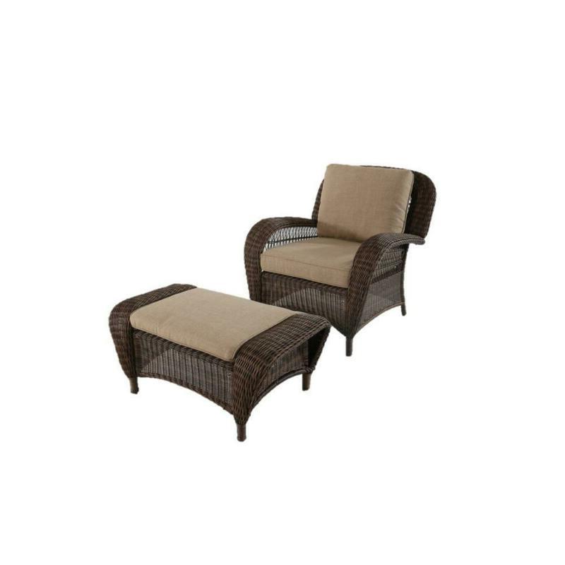 Hampton Bay Outdoor Wicker Toffee Cushions Steel Frame Furniture