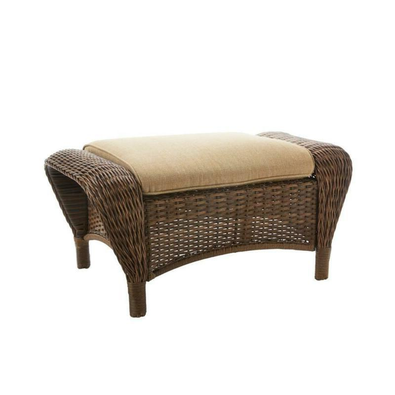 outdoor ottoman wicker toffee cushions steel frame