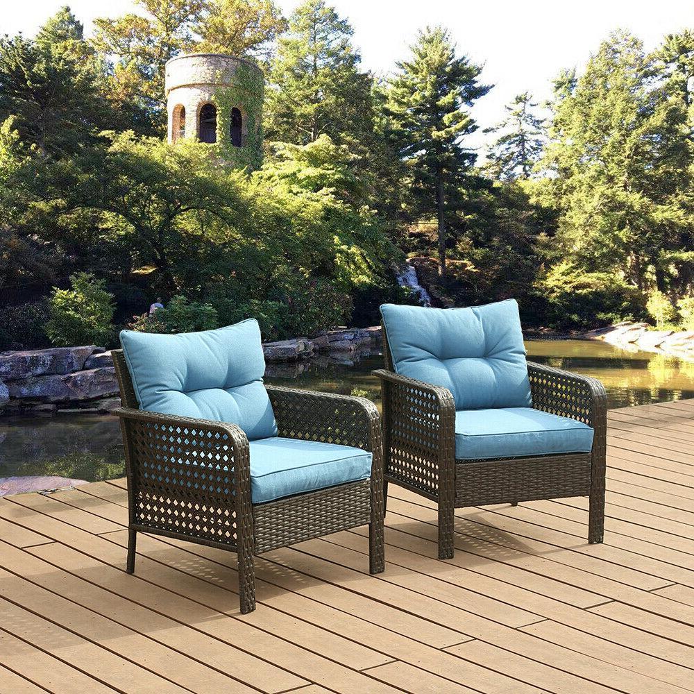 2 PCS Chair Outdoor Patio Furniture Rattan Sofa Wicker Cushi