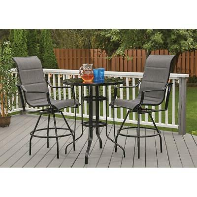 Outdoor Set 3 Piece Padded Chair Table NEW