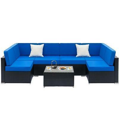 7PCS Outdoor Patio Furniture Wicker Rattan Cushions Sofa Sec