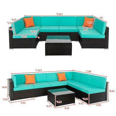 7PCS Wicker Rattan Cushions Sofa Sectional SHIP