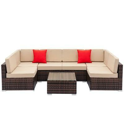 7PCS Patio Furniture Couch Wicker Rattan /w Cushions Sofa Se