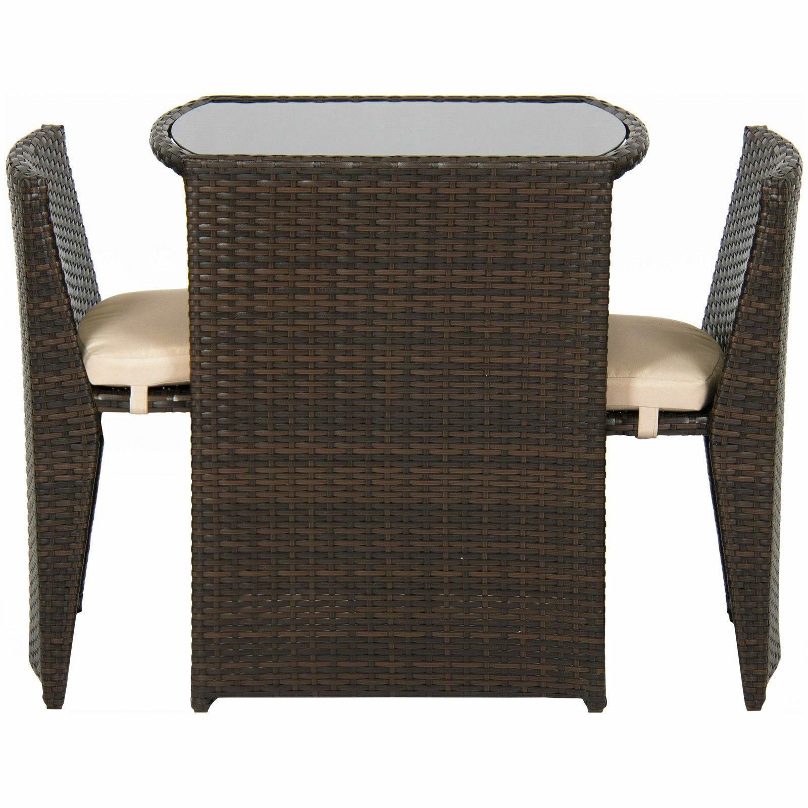 Outdoor Patio Furniture Wicker 3pc Set Top Table, 2 Brown