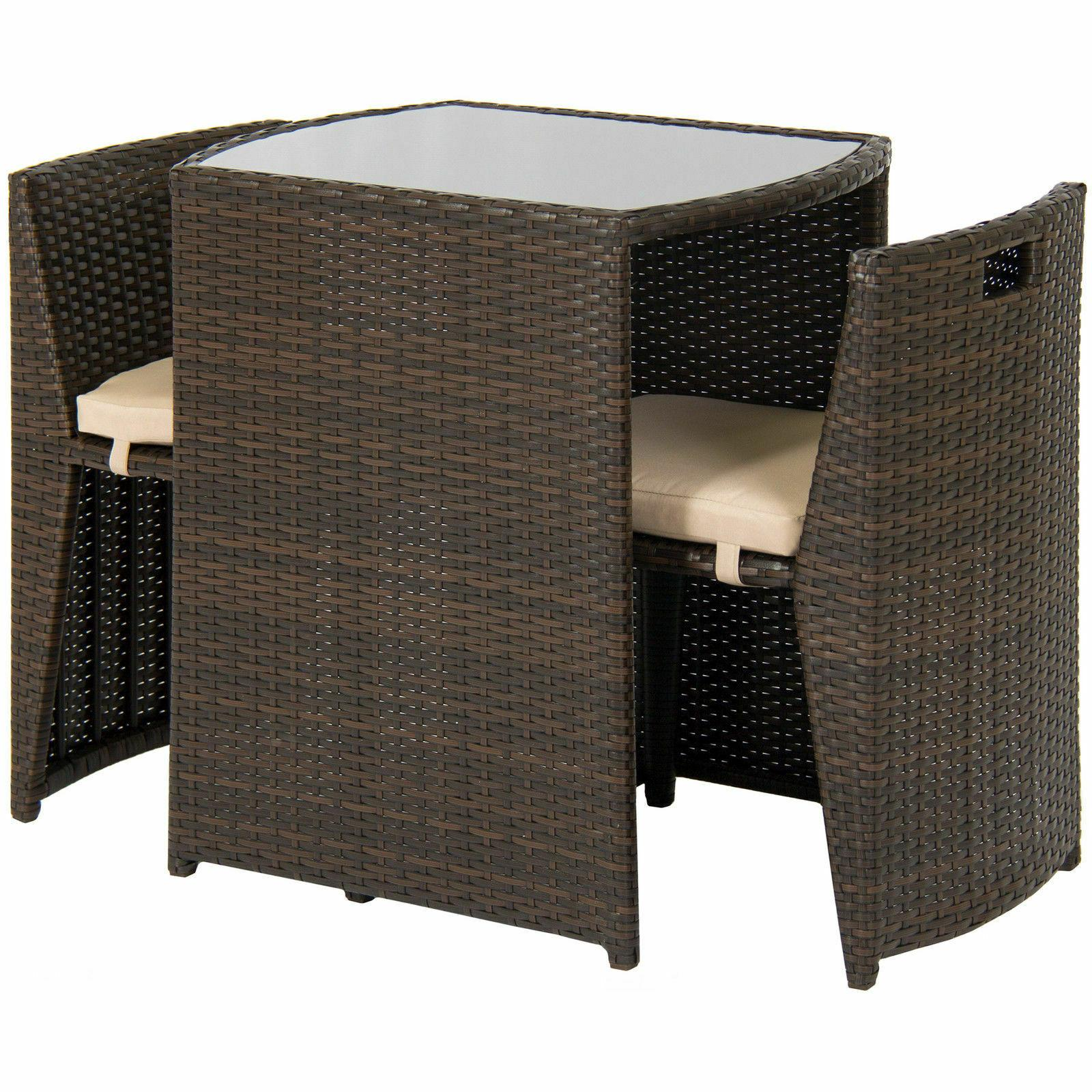 Outdoor Patio Furniture 3pc Top 2 Brown