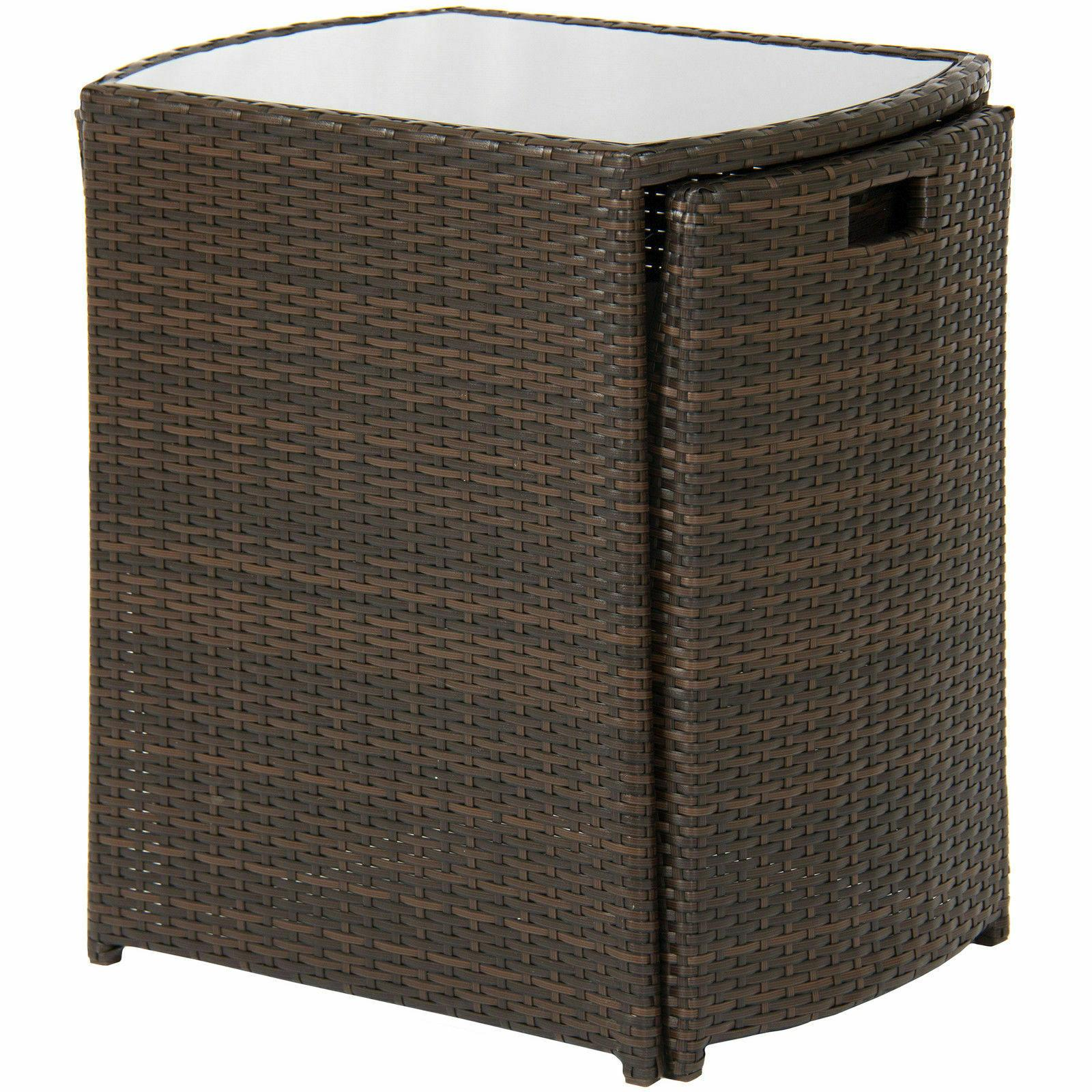 Outdoor Patio Furniture Wicker 3pc Top Table, 2 Brown