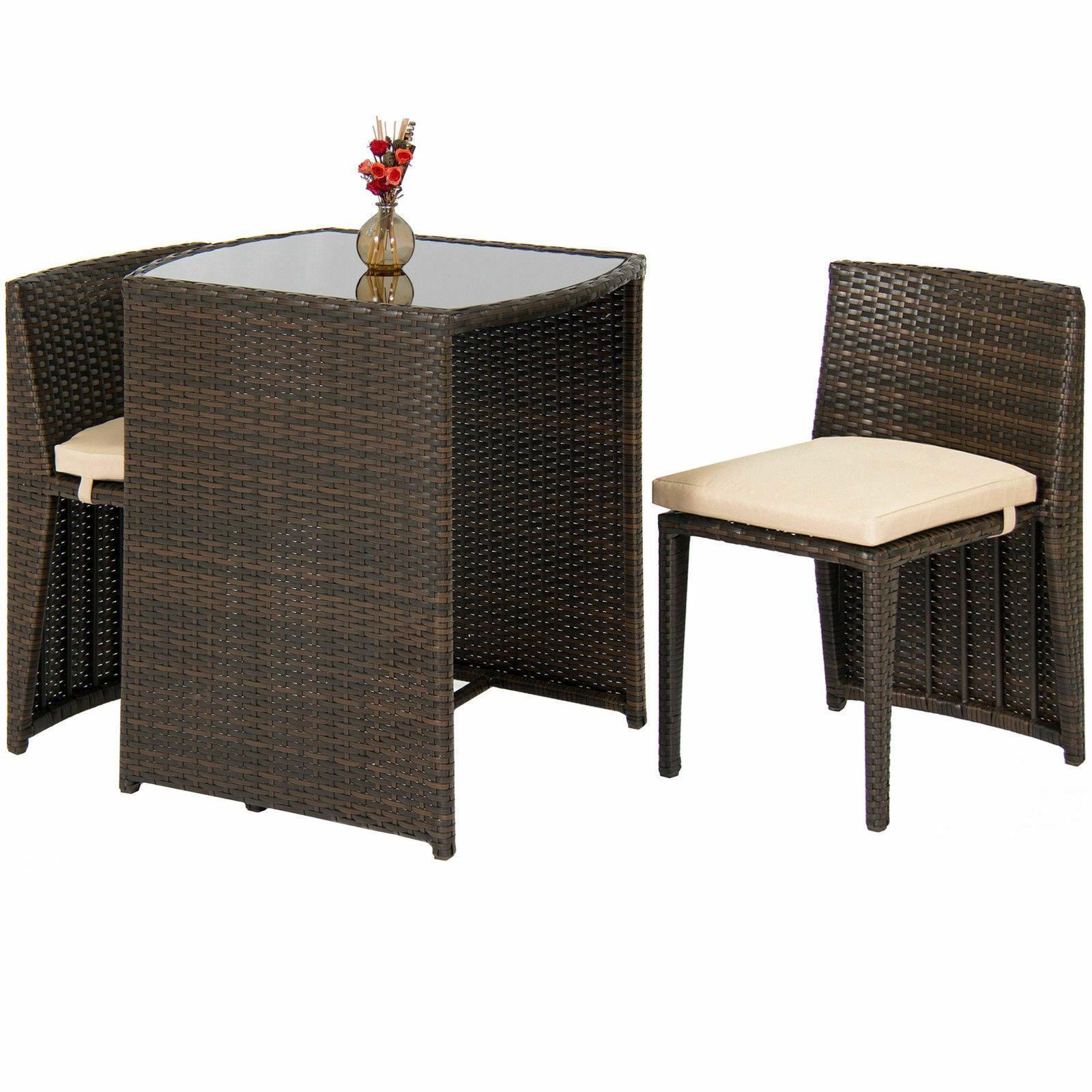 Outdoor Patio Furniture Wicker 3pc Top 2 Brown