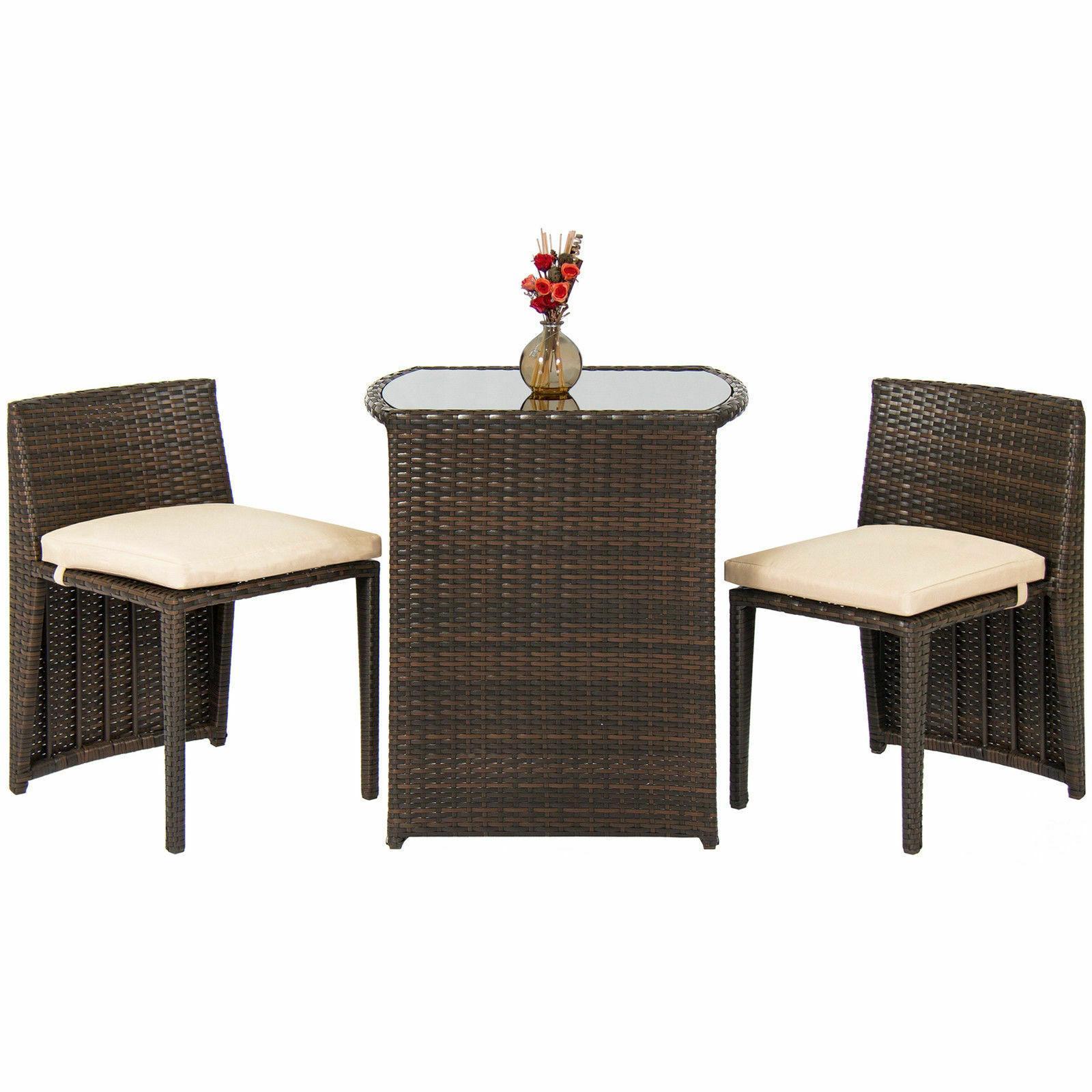 outdoor patio furniture wicker 3pc bistro set