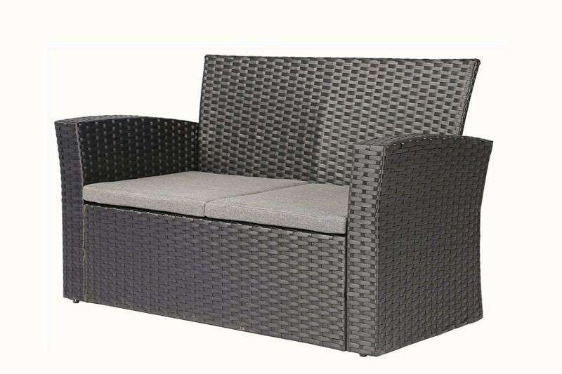 Outdoor Set 4 Pieces PE Garden Furniture Cushion Black