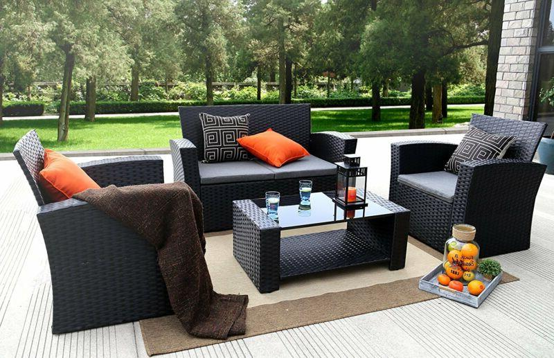 outdoor patio set 4 pieces pe rattan