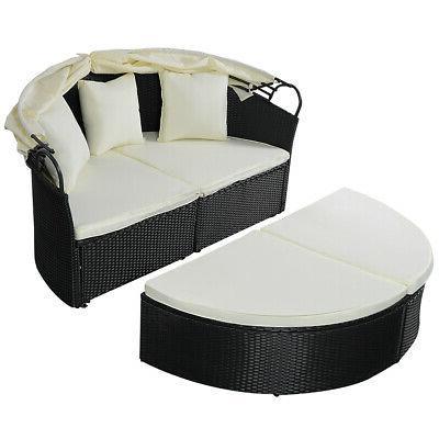 outdoor patio sofa round bed furniture retractable