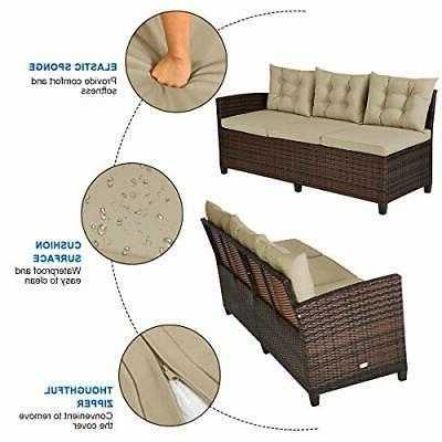 Outdoor Patio Wicker Furniture Rattan Set Sectional Sofa Cushions