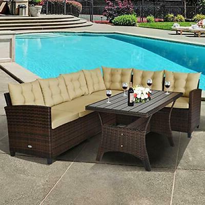 outdoor patio wicker furniture rattan dining set