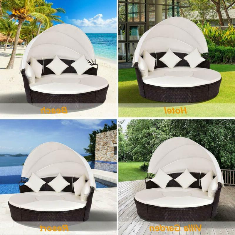 Outdoor Wicker Round Retractable Daybed Poolside Furniture