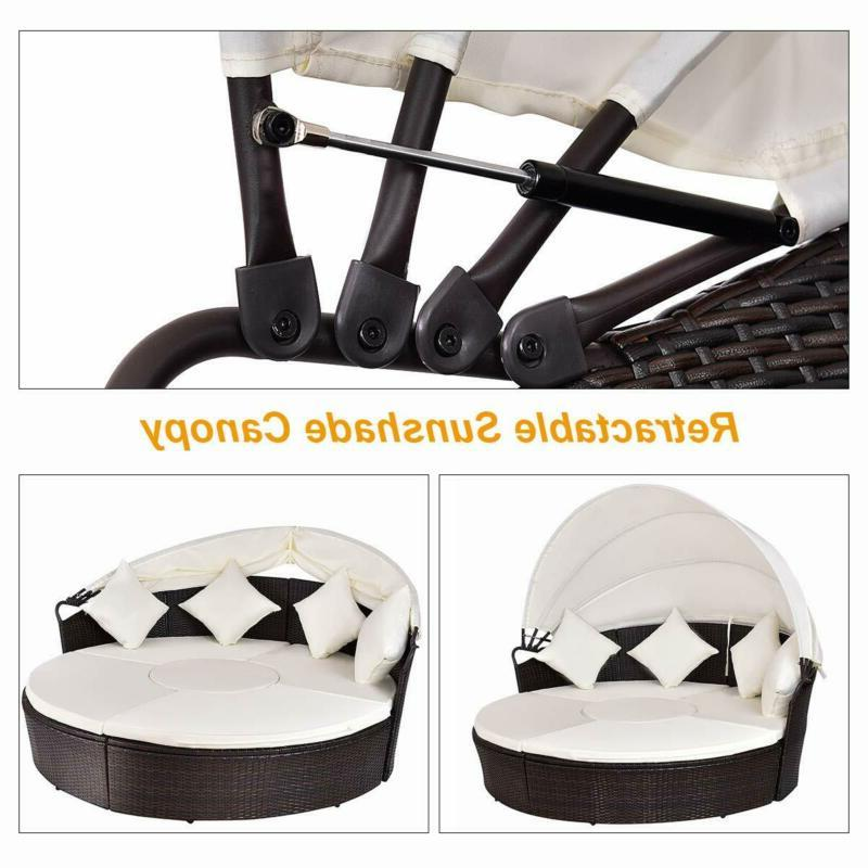 Outdoor Wicker Round Retractable Canopy Poolside Furniture