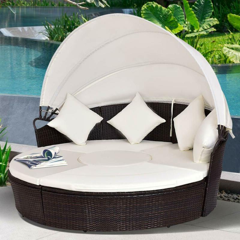 Outdoor Patio Round Retractable Poolside Furniture