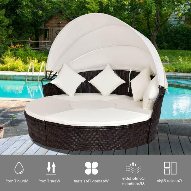 Outdoor Patio Wicker Round Retractable Canopy Poolside Furniture