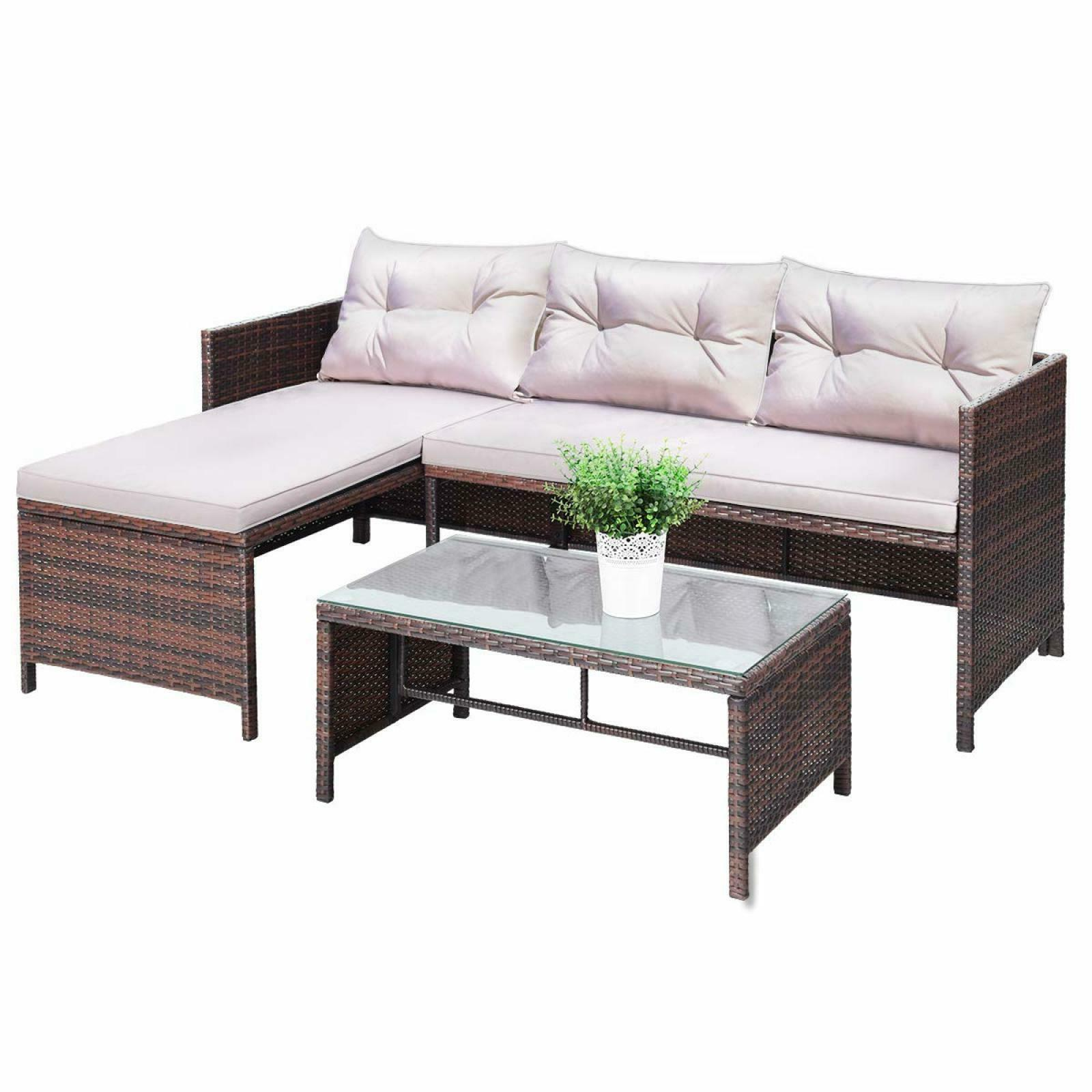 Outdoor Rattan Furniture Sectional Set of 3 Chaise Cushion P
