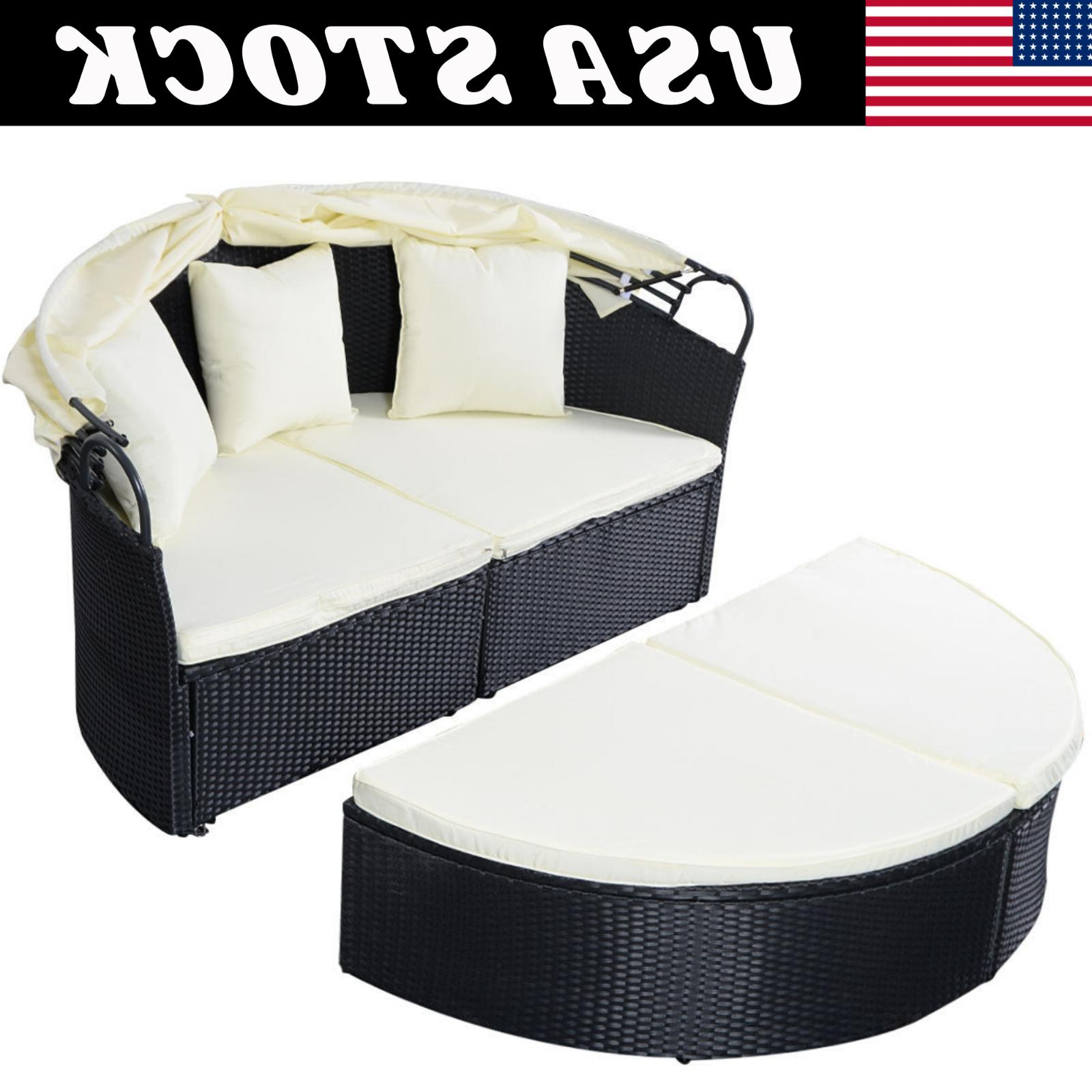 Outdoor Rattan Patio Furniture Round Retractable Daybed