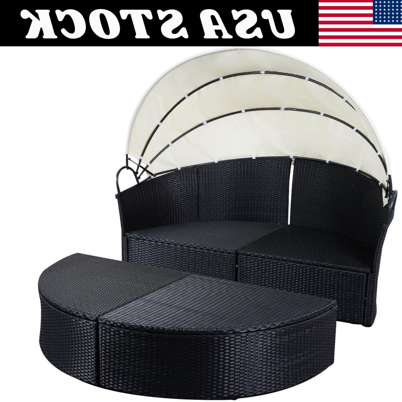 Outdoor Rattan Furniture Round Canopy Daybed Black/White