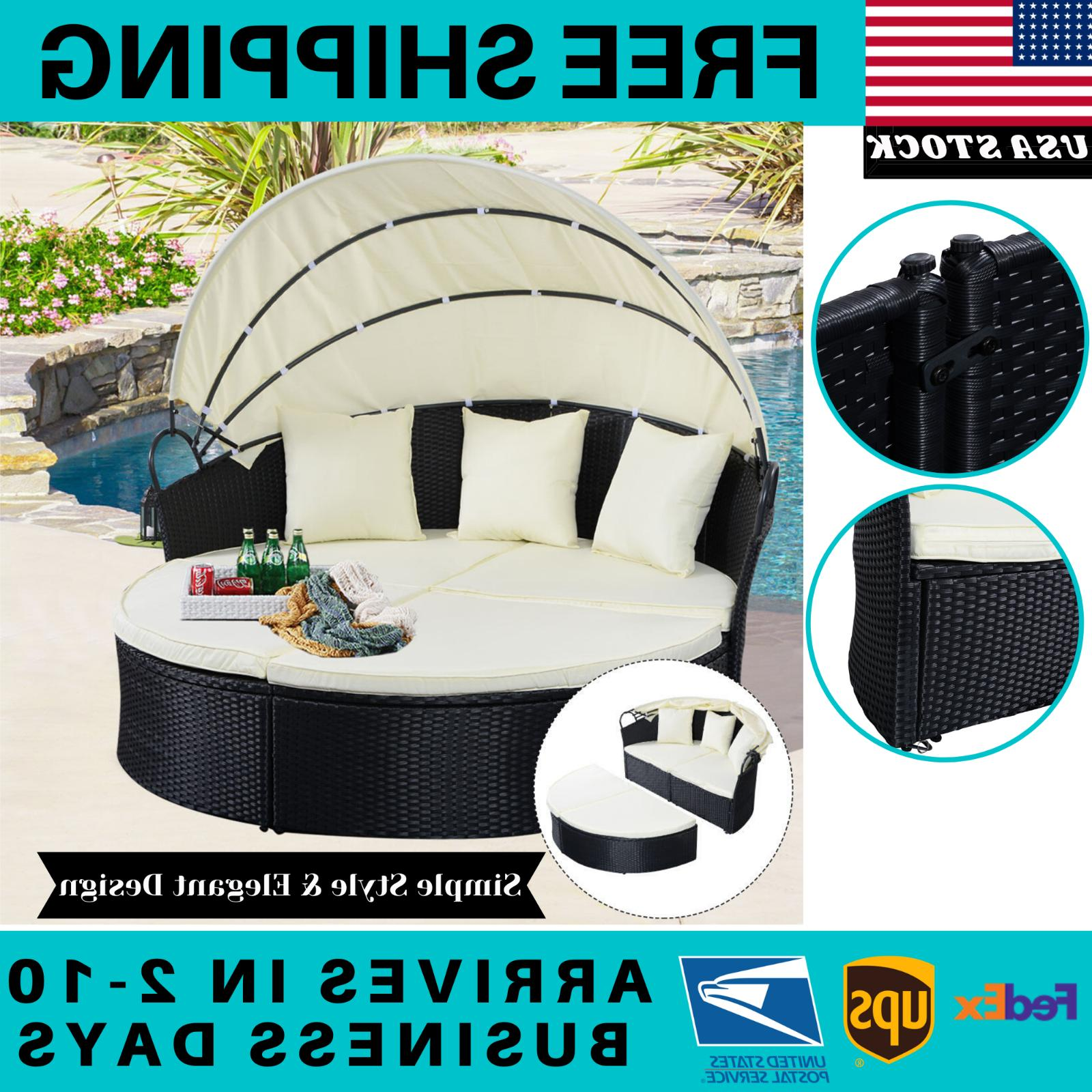 outdoor rattan patio sofa furniture round retractable