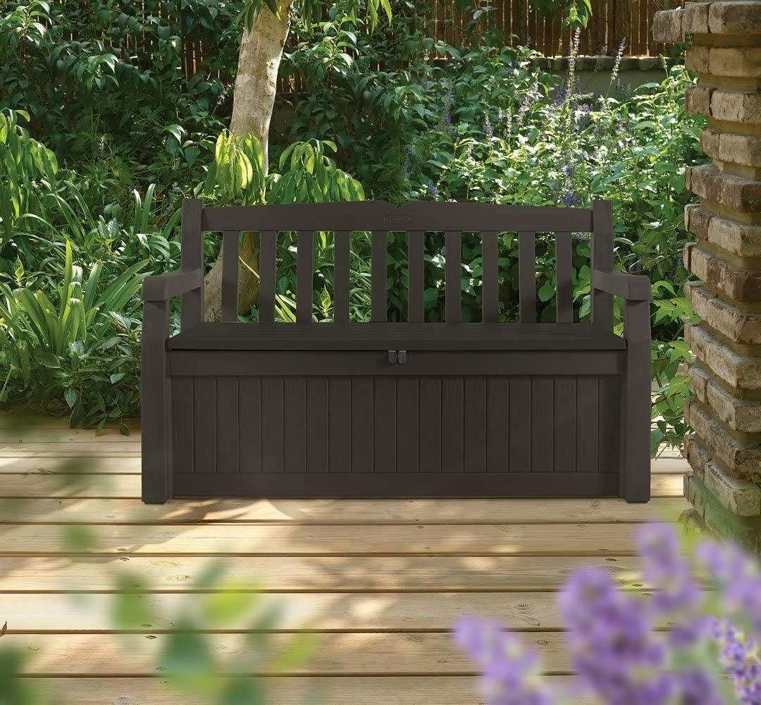 Keter 70 Storage Deck Box for Patio Furniture, Porch Dec