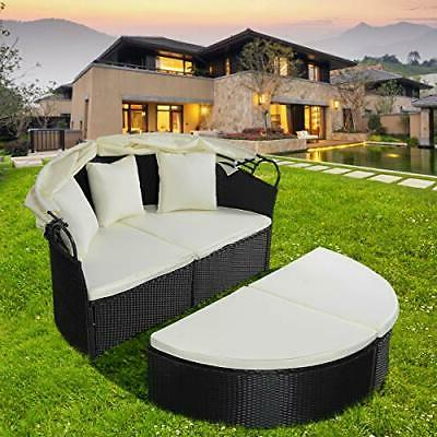 Outdoor Wicker with Canopy Cushioned Seats Patio