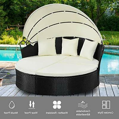 Outdoor Round with Canopy Cushioned Patio