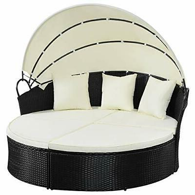 Outdoor Round Daybed with Cushioned Seats