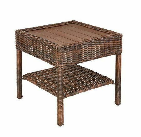 Outdoor Wicker Side Table Square Brown Durable Patio Furnitu