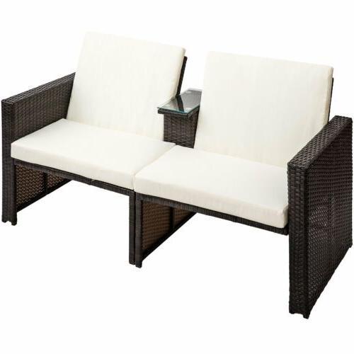 4PCS Outdoor Wicker Shelf Furniture Set & Cushion