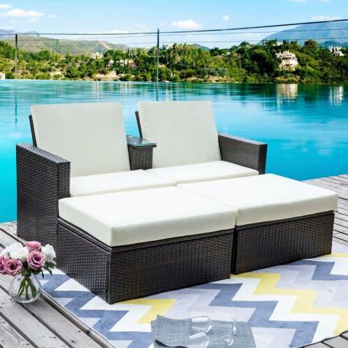 4PCS Outdoor Patio Wicker Shelf Furniture Set &