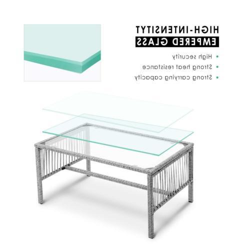 4PCS Wicker Table Sofa Furniture Set