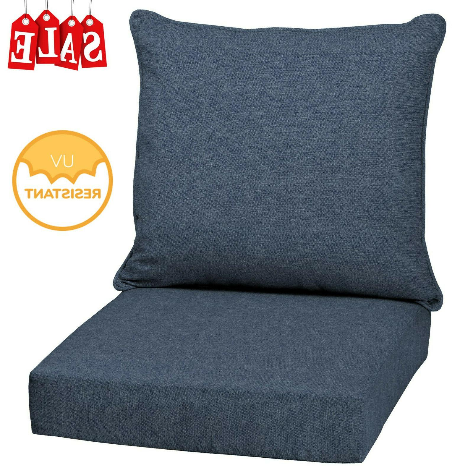 Blue Outdoor Deep Seat Chair Patio Cushions Set Pad UV Resis