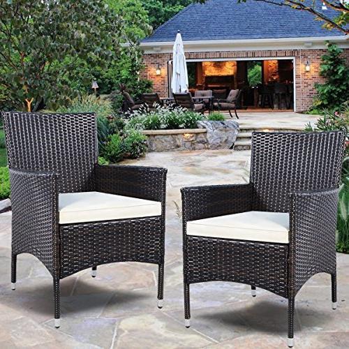 Tangkula 2 Patio Armchair Set Rattan Set W/Cushions