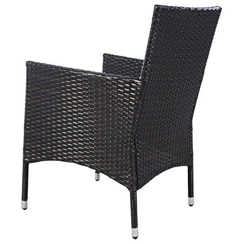 Tangkula 2 Armchair Chair Set Outdoor Modern Rattan PE Sofa Set W/Cushions Brown