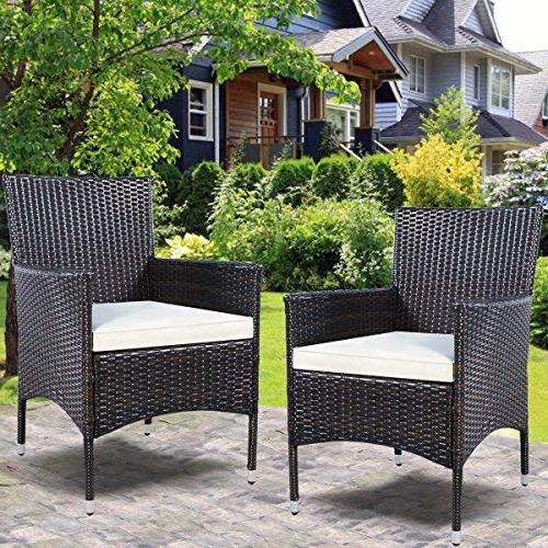 Tangkula Armchair Rattan Single Set Outdoor Modern Rattan Set W/Cushions …